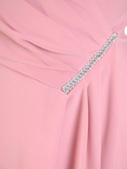 Pudrowa sukienka midi, elegancka kreacja z rozcięciem 30125
