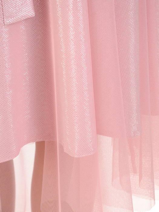Pudrowa sukienka na wesele, kreacja z połyskującego materiału 30551