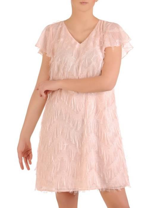Pudrowa sukienka na wyjście z frędzlami 29846