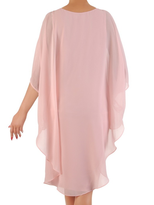Pudrowa sukienka z luźną, szyfonową narzutką 21183