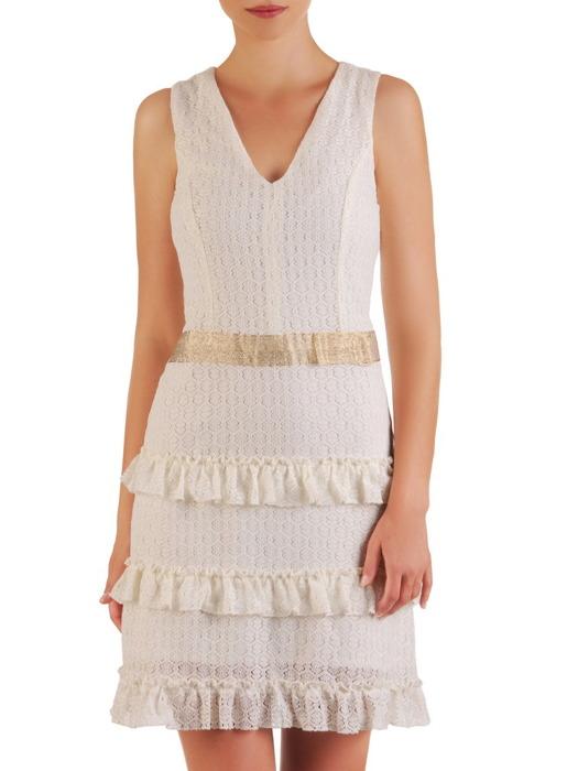 Romantyczna sukienka wykończona falbankami, elegancka kreacja z koronki 21488