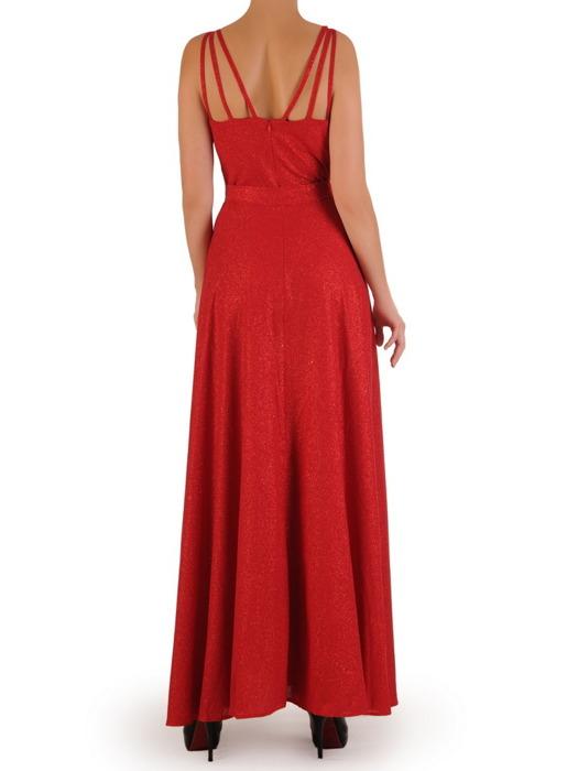 Rozkloszowana sukienka na wesele, brokatowa kreacja z paskiem 22735