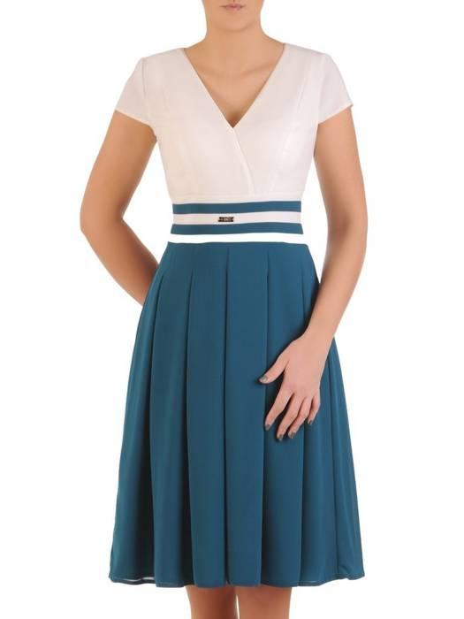 Rozkloszowana sukienka na wesele, kreacja z ozdobnym pasem 28787