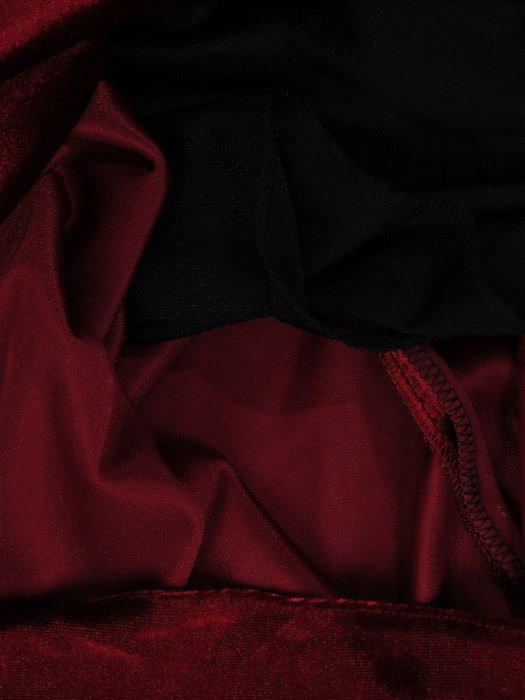 Rozkloszowana sukienka z aksamitu, kreacja w kolorze bordowym 18787