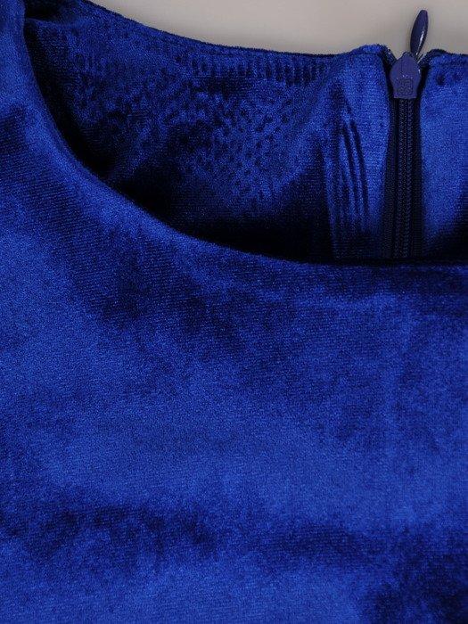 Rozkloszowana sukienka z aksamitu, kreacja w kolorze chabrowym 18987