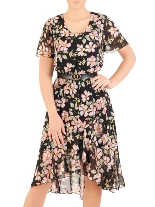 Rozkloszowana sukienka z asymetrycznym dołem 30111