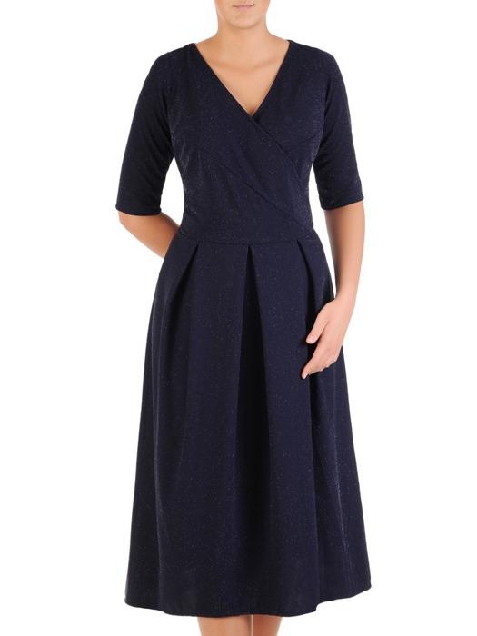 Rozkloszowana sukienka z kopertowym dekoltem, kreacja z dzianiny 22436