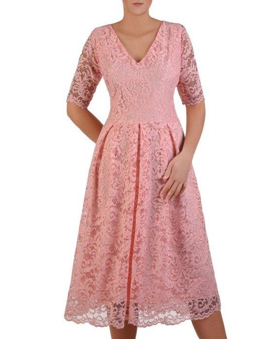 Rozkloszowana sukienka z koronki, modna kreacja z kontrafałdą 22643