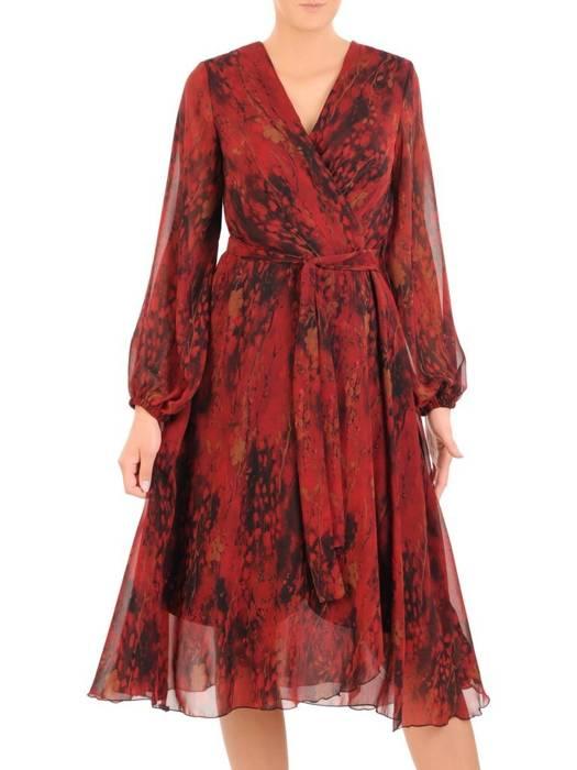 Rozkloszowana sukienka z szyfonu, kopertowa kreacja z paskiem 30544