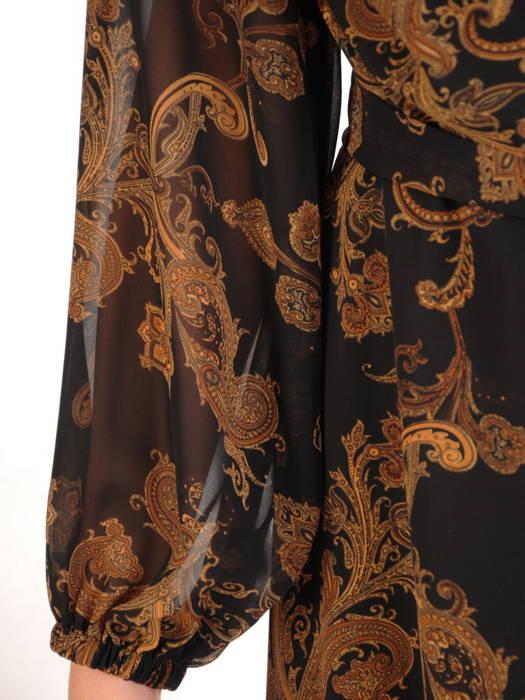 Rozkloszowana sukienka z szyfonu, kopertowa kreacja z paskiem 30599