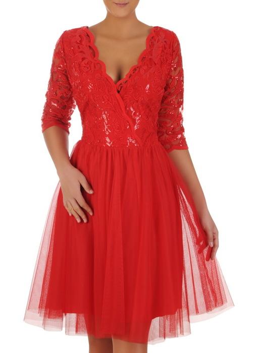 Rozkloszowana sukienka z tiulu i gipiury, czerwona kreacja na wesele 22488