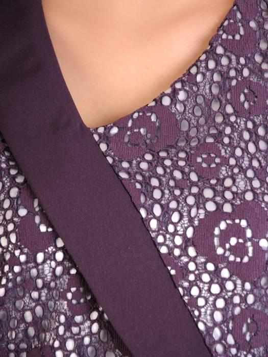 Śliwkowa sukienka damska, kreacja z koronkową górą 29773
