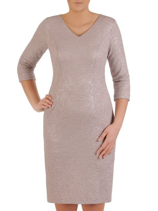 Sukienka beżowa, połyskująca kreacja z wytłaczanej dzianin 24585