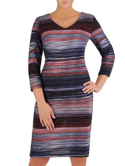 Sukienka codzienna, prosta kreacja w paski 21915.