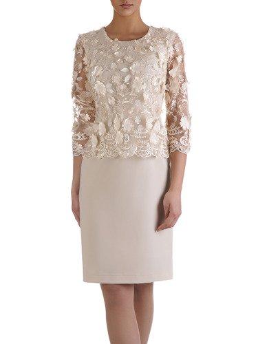Sukienka damska 15113, elegancka kreacja z koronki i tkaniny.