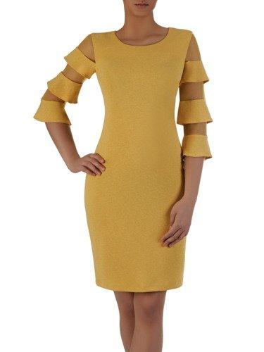 Sukienka damska 15737, żółta kreacja z nowoczesnymi rękawami.