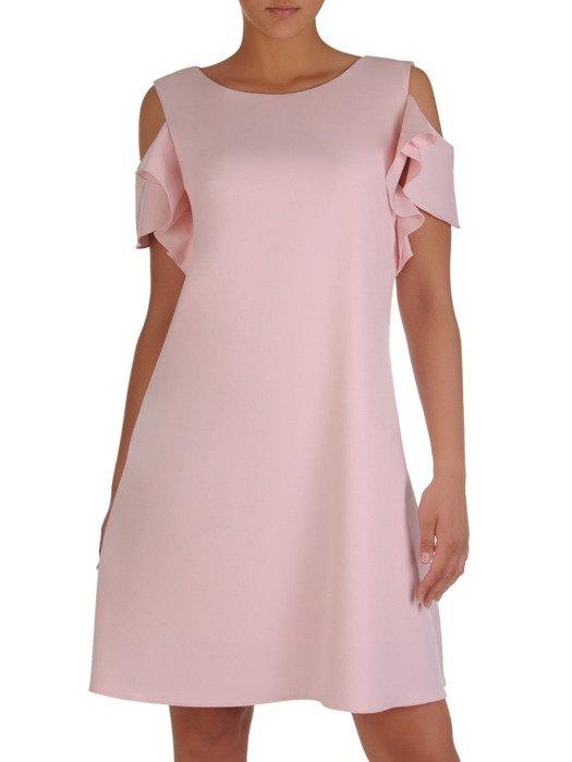 Sukienka damska 16960, pudrowa kreacja z ozdobnymi rękawami.