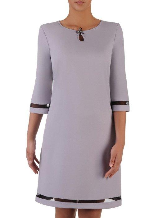 Sukienka damska 17050, popielata kreacja z ażurowymi wstawkami.