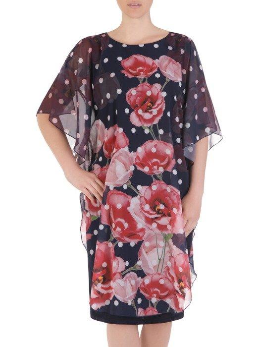 Sukienka damska 17534, elegancka kreacja w luźnym fasonie maskującym brzuch i biodra.