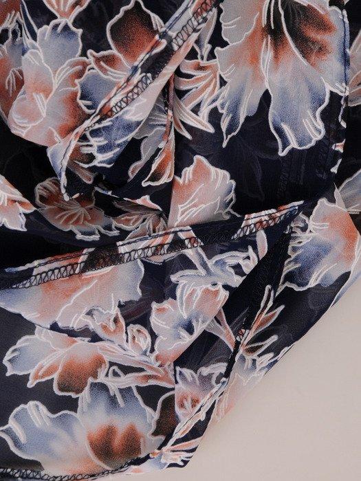 Sukienka damska 2w1 18229, prosta sukienka z narzutką w kwiaty.