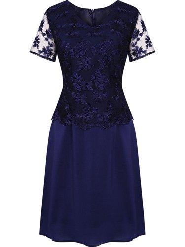 Sukienka damska Alisa, wieczorowa kreacja z koronki i szyfonu.