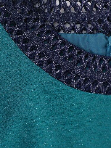 Sukienka damska Ariena II, turkusowa kreacja z ażurowymi wstawkami.