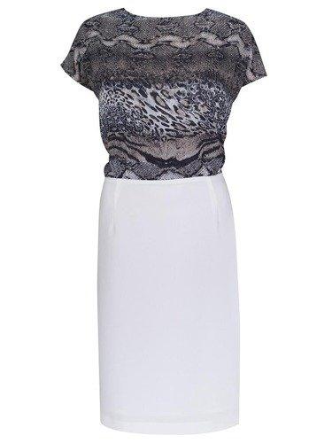 Sukienka damska Asteria I, letnia kreacja z szyfonową górą sukienki. Modny wzór.