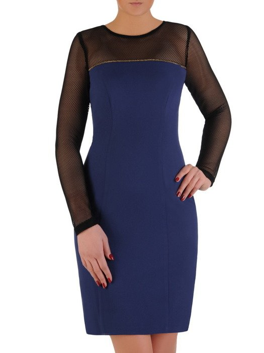 Sukienka damska Delfina I, chabrowa kreacja z rękawami z siateczki.