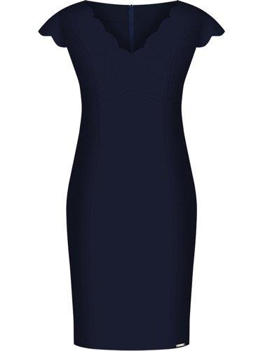 Sukienka damska Faustyna I, granatowa kreacja z oryginalnym dekoltem.