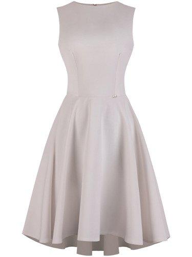 Sukienka damska Inezja V, rozkloszowana kreacja z dłuższym tyłem.