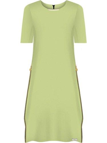 Sukienka damska Ingryda IV, wiosenna kreacja z ozdobnymi suwakami.