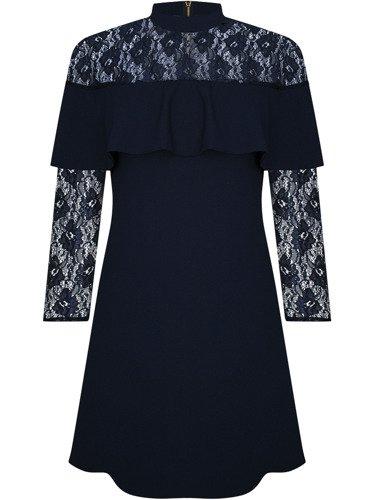 Sukienka damska Salomeja, granatowa kreacja z ozdobnym dekoltem.