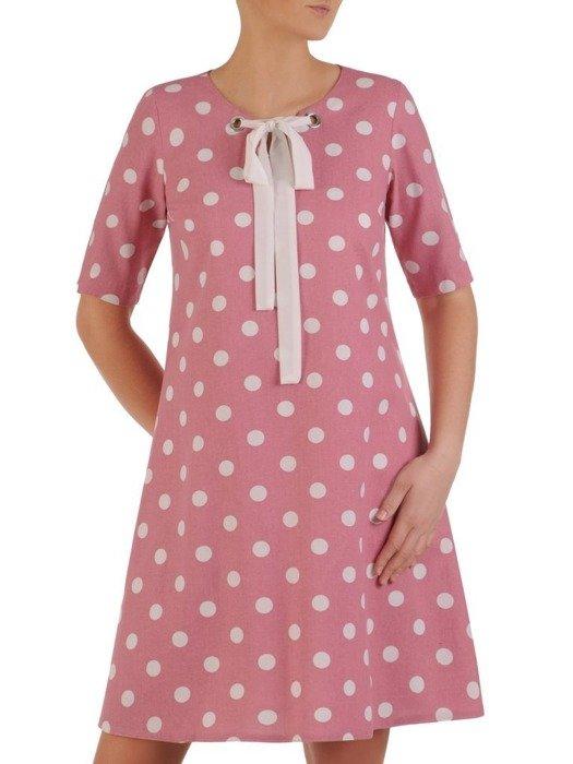 Sukienka damska lniana, pastelowa kreacja w groszki 25081