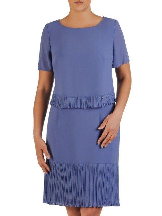 Sukienka damska, niebieska kreacja z ozdobnymi plisami 25994