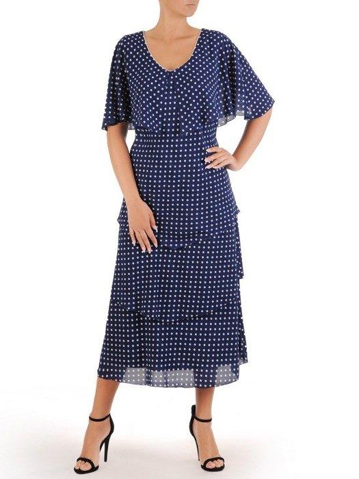 Sukienka damska, wyjściowa kreacja w modnym fasonie z ozdobną narzutą 26735