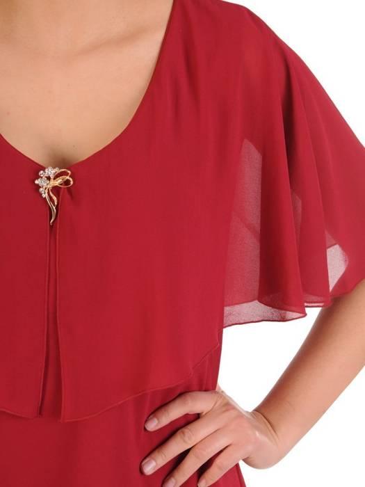 Sukienka damska, wyjściowa kreacja w modnym fasonie z ozdobną narzutą 29875