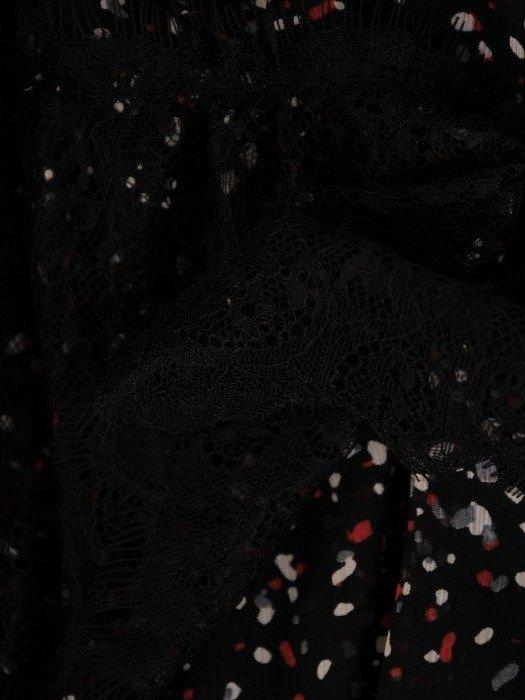 Sukienka damska z koronkowymi wstawkami, zwiewna kreacja z szyfonu 24515