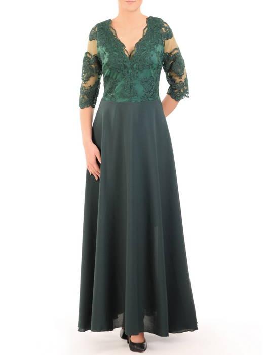 Sukienka koktajlowa maksi, zielona kreacja z koronkową górą 30727