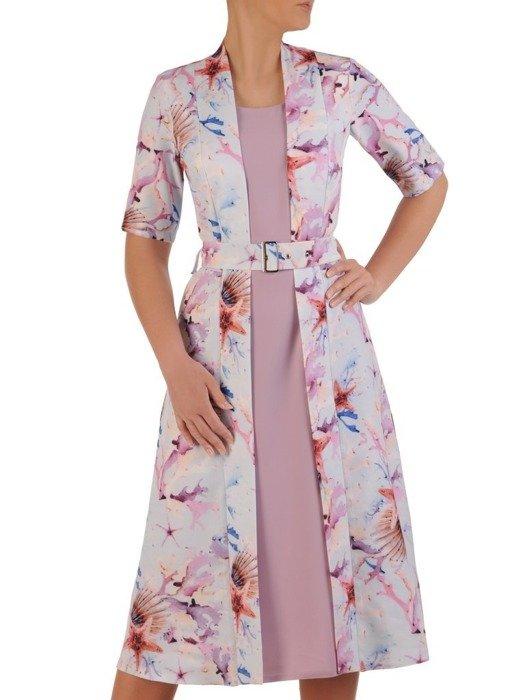 Sukienka koktajlowa, wyszczuplająca kreacja z łączonych tkanin 25873