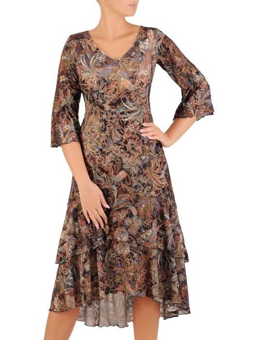 Sukienka koktajlowa, zwiewna kreacja w oryginalnym wzorze 27053