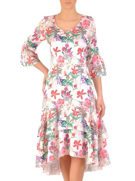 Sukienka koktajlowa, zwiewna kreacja w oryginalnym wzorze 29662
