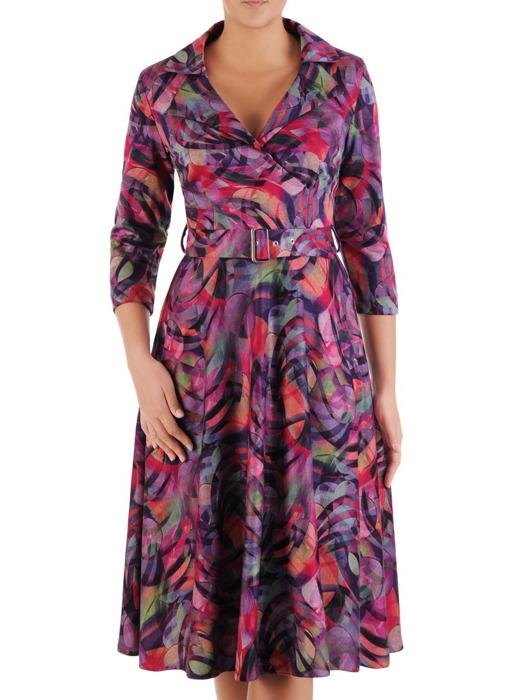 Sukienka kopertowa, rozkloszowana kreacja z paskiem 22089.