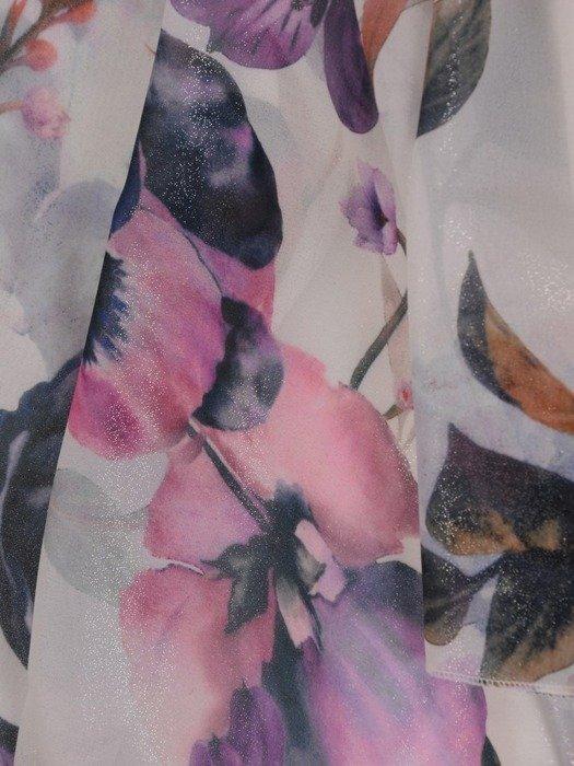 Sukienka kopertowa, zwiewna kreacja w kwiaty 25413