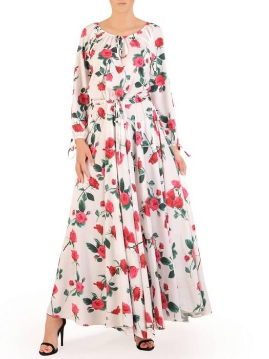 Sukienka maxi, elegancka kreacja z rozcięciem 30106