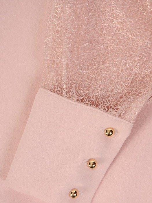 Sukienka na wesele, pudrowa kreacja z ażurowymi rękawami 26183