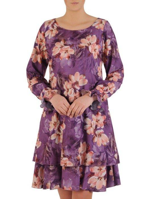 Sukienka o trapezowym kroju, kreacja z kwiatowym nadrukiem 24566