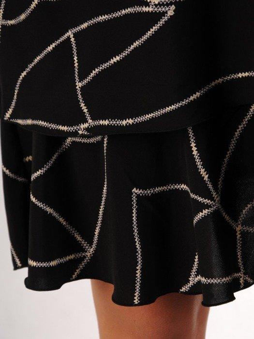 Sukienka o trapezowym kroju, kreacja z oryginalnym nadrukiem 24340