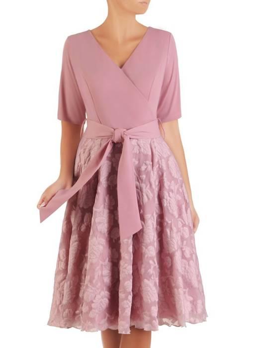 Sukienka rozkloszowana, elegancka kreacja z paskiem 26937