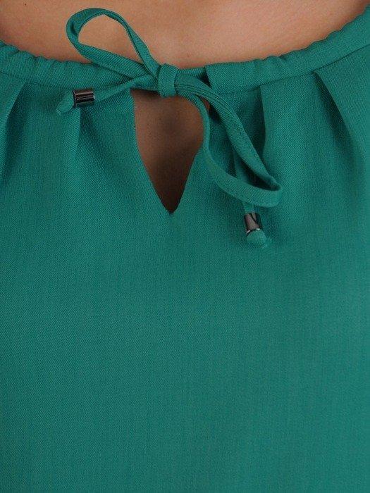 Sukienka szmaragdowa, wiosenna kreacja regulowana w pasie 25583