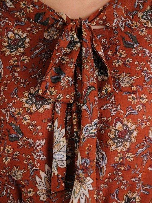 Sukienka szyfonowa, modna kreacja z wiązaniem na dekolcie 25333